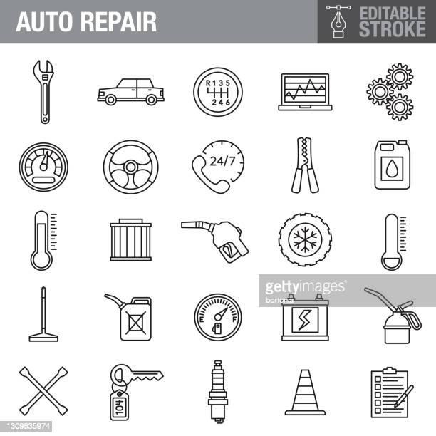 ilustraciones, imágenes clip art, dibujos animados e iconos de stock de conjunto de iconos de trazo editable de reparación automática - filtración