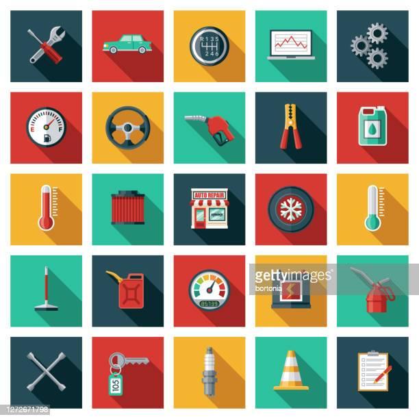 auto repair shop icon set - canadian tire centre stock illustrations