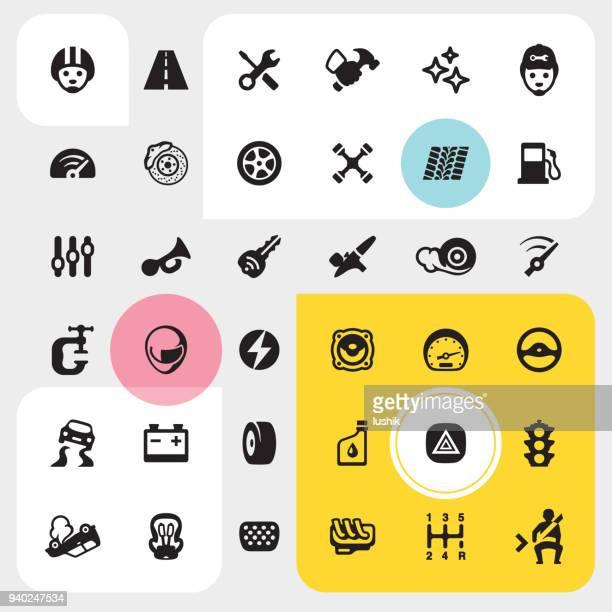 auto repair shop icon set - gearshift stock illustrations, clip art, cartoons, & icons