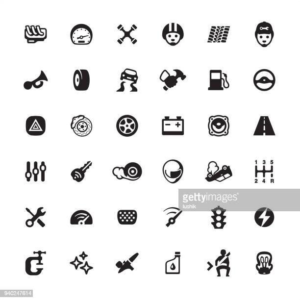 ilustrações, clipart, desenhos animados e ícones de oficina de reparação automóvel - conjunto de ícones - skidding