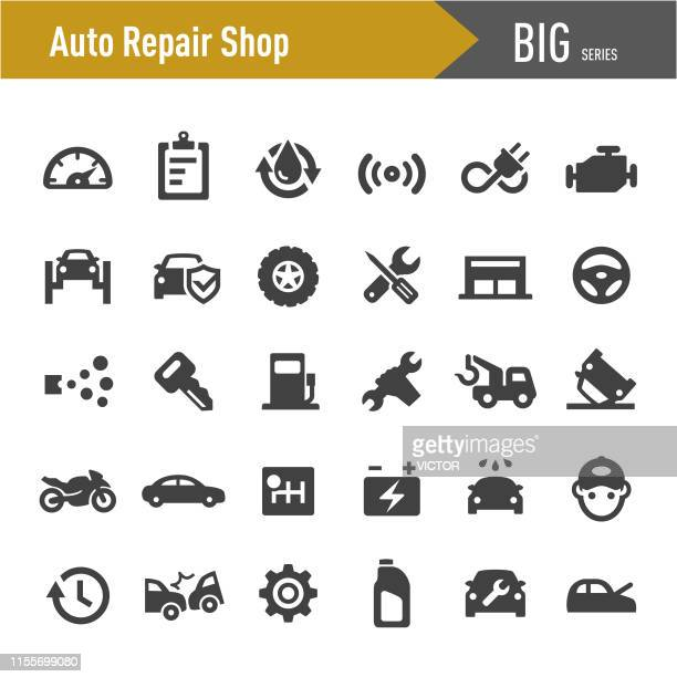auto repair shop icons - big series - garage stock illustrations