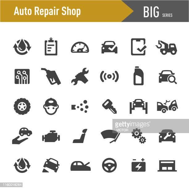 auto repair shop icons set - big series - showroom stock illustrations, clip art, cartoons, & icons
