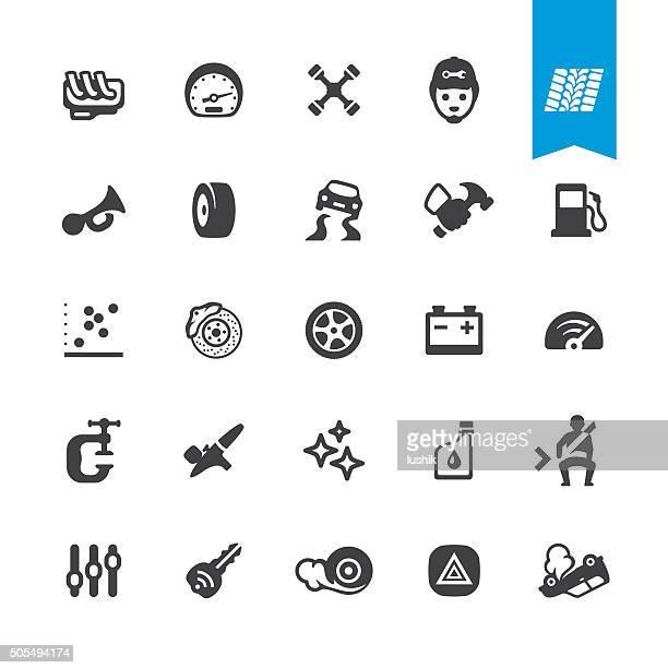 ilustrações, clipart, desenhos animados e ícones de oficina de automóvel ícones vetorizados - skidding