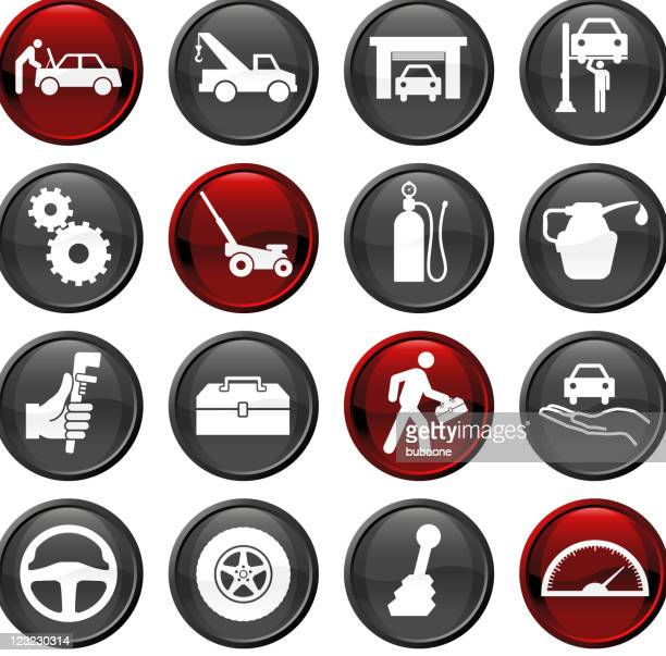 auto repair sixteen icon set - vehicle hood stock illustrations, clip art, cartoons, & icons