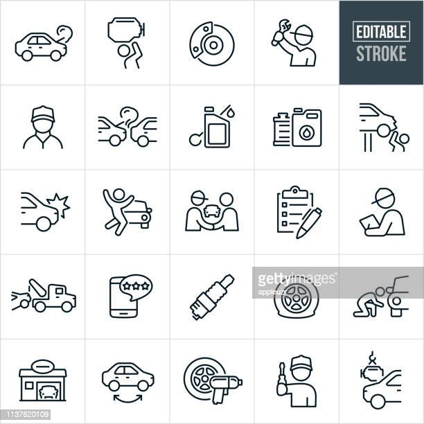auto repair thin line icons - editable stroke - commercial land vehicle stock illustrations