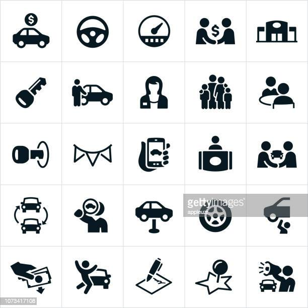 auto sales icons - car salesperson stock illustrations, clip art, cartoons, & icons