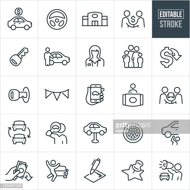 auto sales thin line icons - editable stroke - selling stock illustrations
