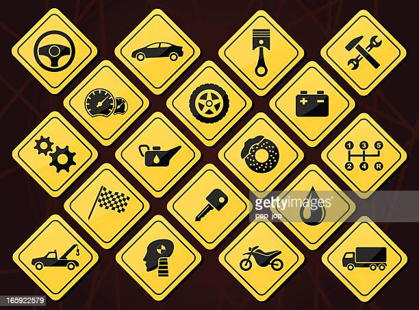 auto service and repair icons - tire vehicle part stock illustrations, clip art, cartoons, & icons