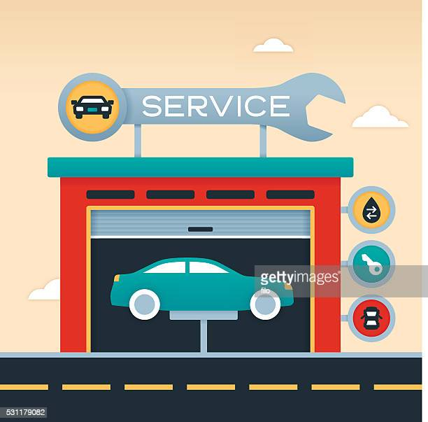 auto service garage - wrench stock illustrations