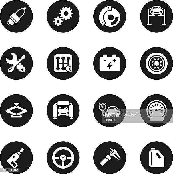 Auto Service Icons - Black Circle Series