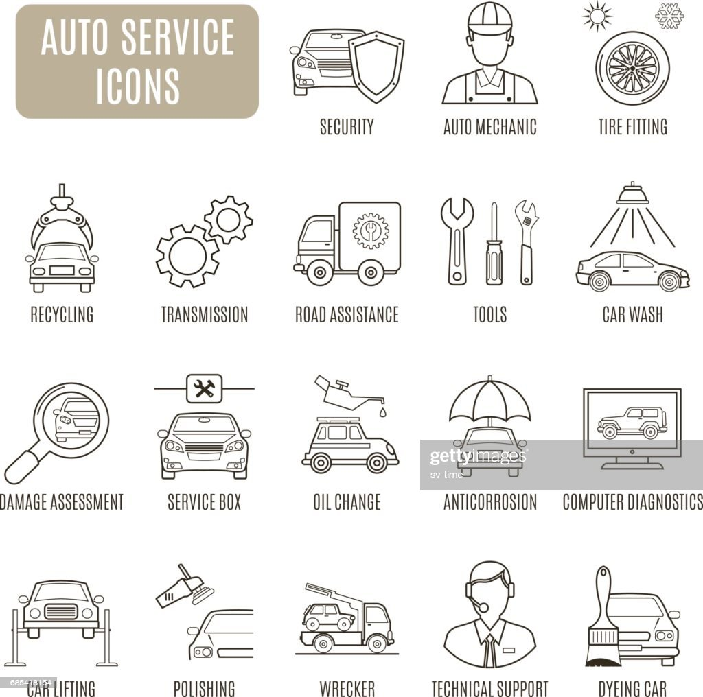 Auto Service icons. Set of vector pictogram