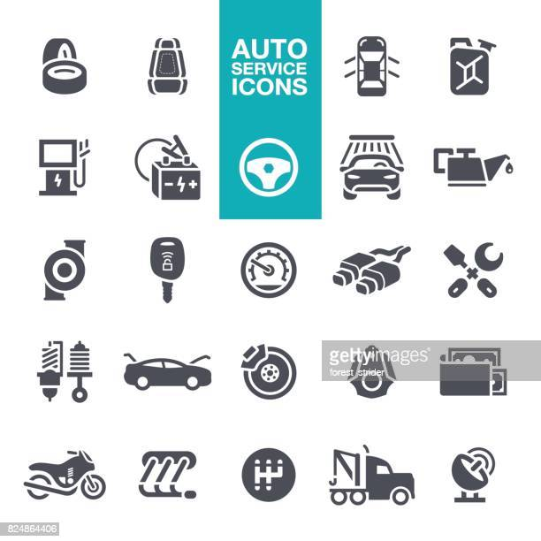 auto service icons - car battery stock illustrations, clip art, cartoons, & icons