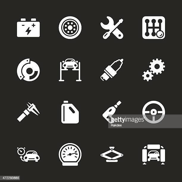 auto service icons - white series | eps10 - tire vehicle part stock illustrations, clip art, cartoons, & icons