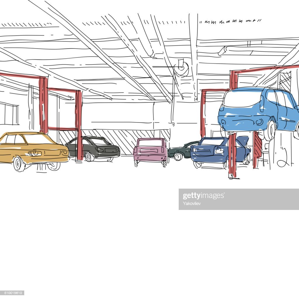 Auto service interior design sketch. Hand drawn vector illustration