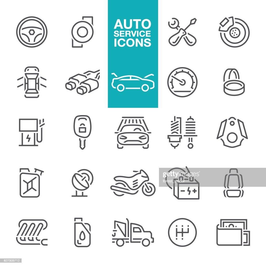 Auto service line icons : stock illustration