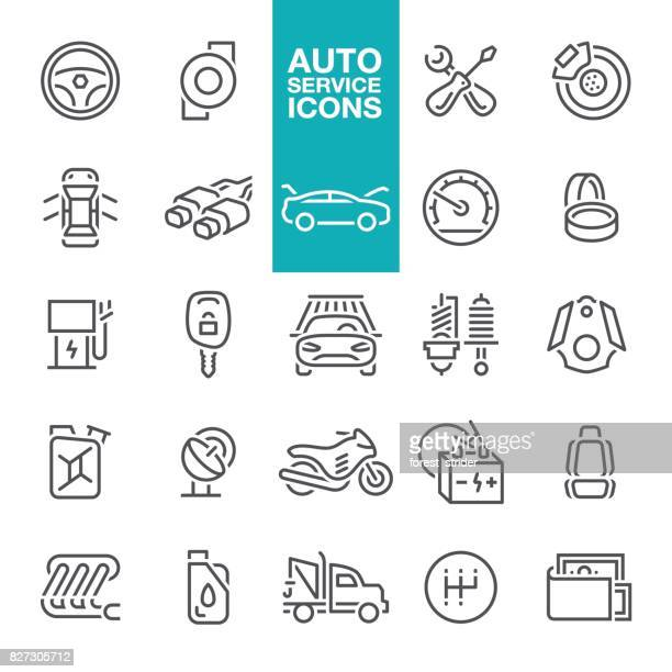auto service line icons - car battery stock illustrations, clip art, cartoons, & icons
