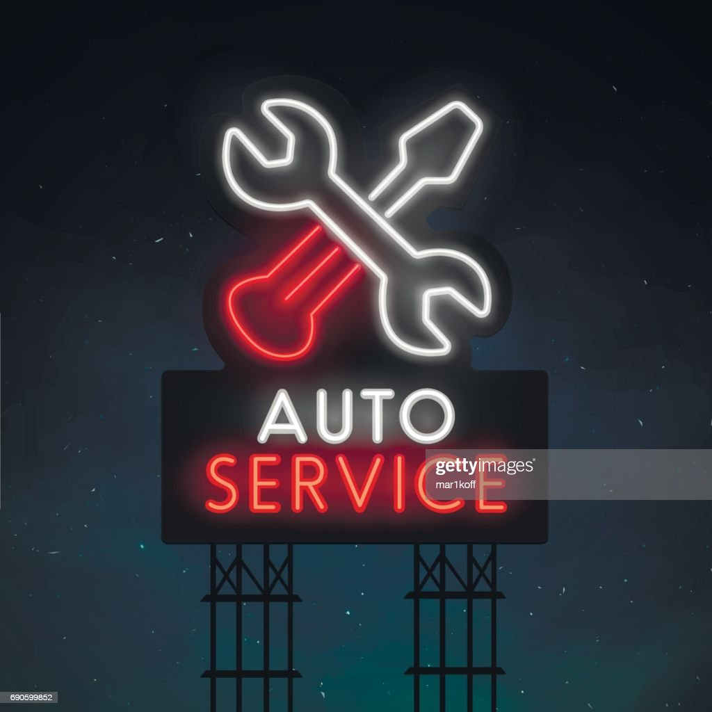 Auto service road sing. City sign neon. symbol, emblem. Service neon sign, bright signboard, light banner