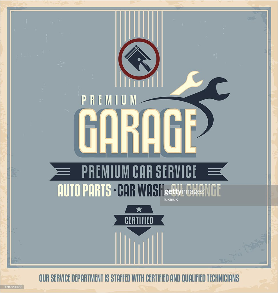 Auto service vintage poster design template