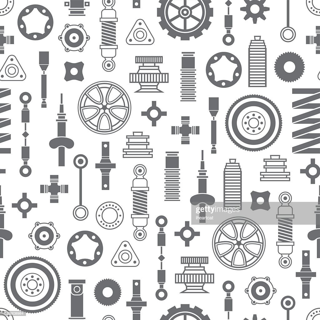 Auto spare parts seamless pattern