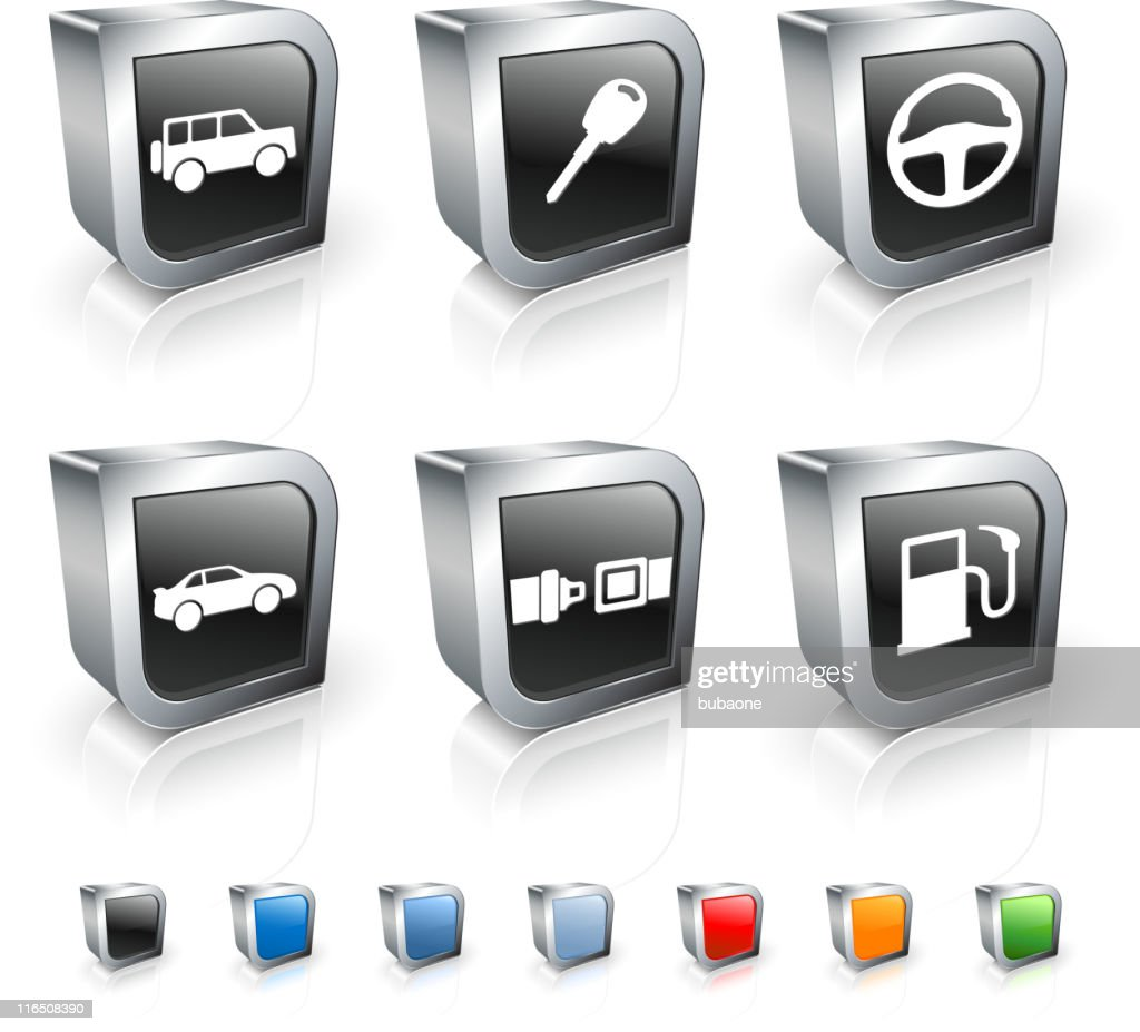 auto square royalty free vector icon set