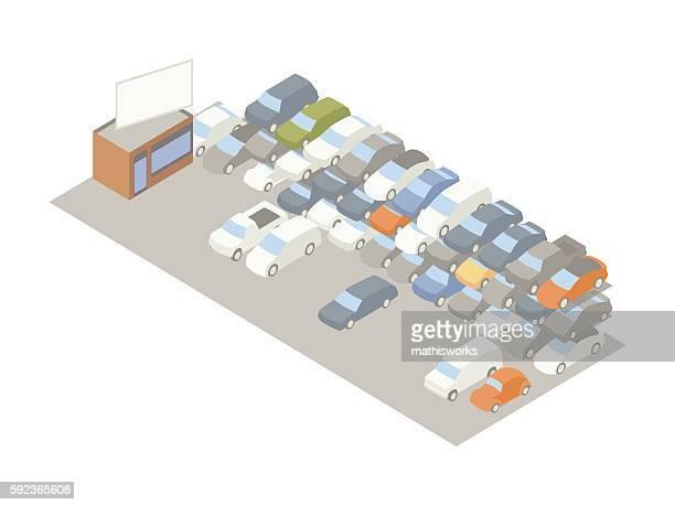 Auto storage lot illustration