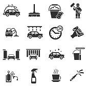 Auto wash. Monochrome icons set.
