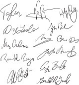 Autographs handwritten pen signatures for delivery and business documents vector stock