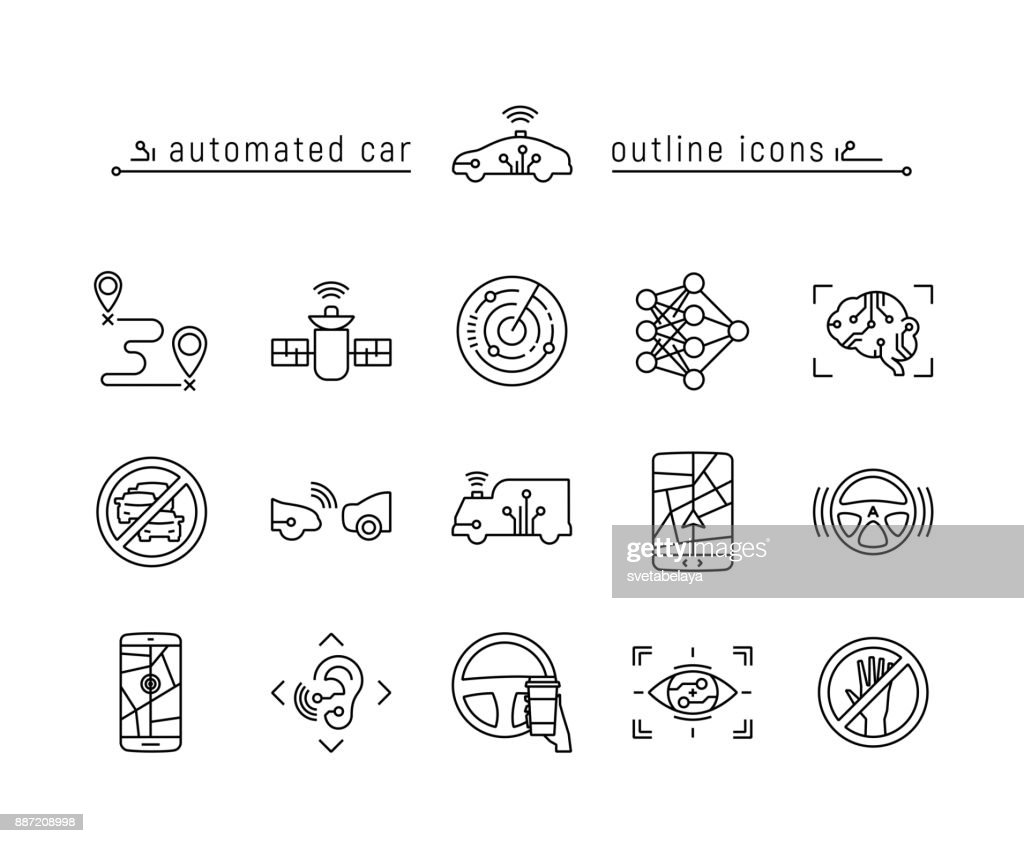 Automated car outline icon set