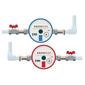 Automatic cold and hot water meters. Flat vector icon. Household