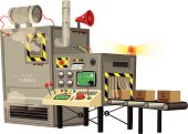 Automatic machine producing goods