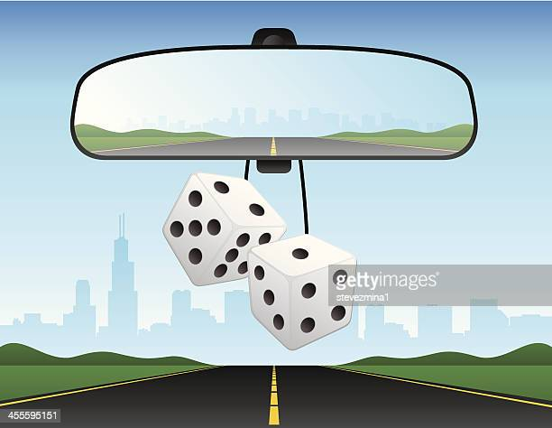 automobile car rearview mirror dice interstate freeway vector illustration - rear view mirror stock illustrations