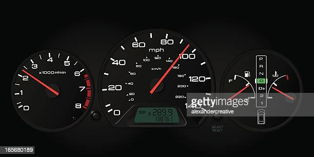 automobile dashboard - odometer stock illustrations, clip art, cartoons, & icons