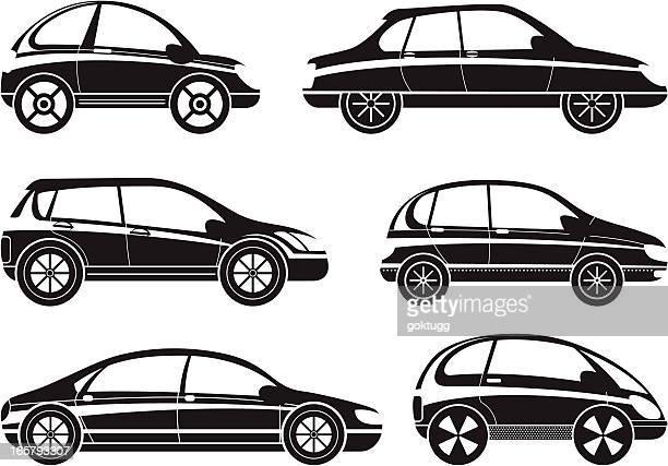 automobile icons set - hatchback stock illustrations, clip art, cartoons, & icons