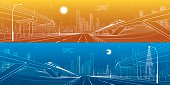 Automobile overpass, infrastructure and transportation panorama