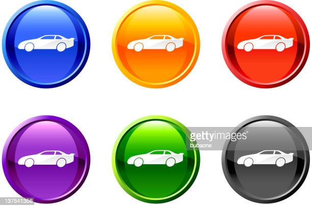 automobile royalty free vector icon set on round shiny buttons