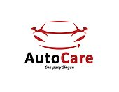 Automotive car logo design with abstract sports vehicle silhouette