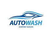 Automotive carwash design with abstract sports vehicle silhouette