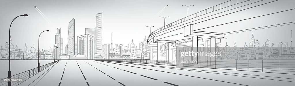 Automotive flyover, architectural and infrastructure panorama, transport overpass, highway