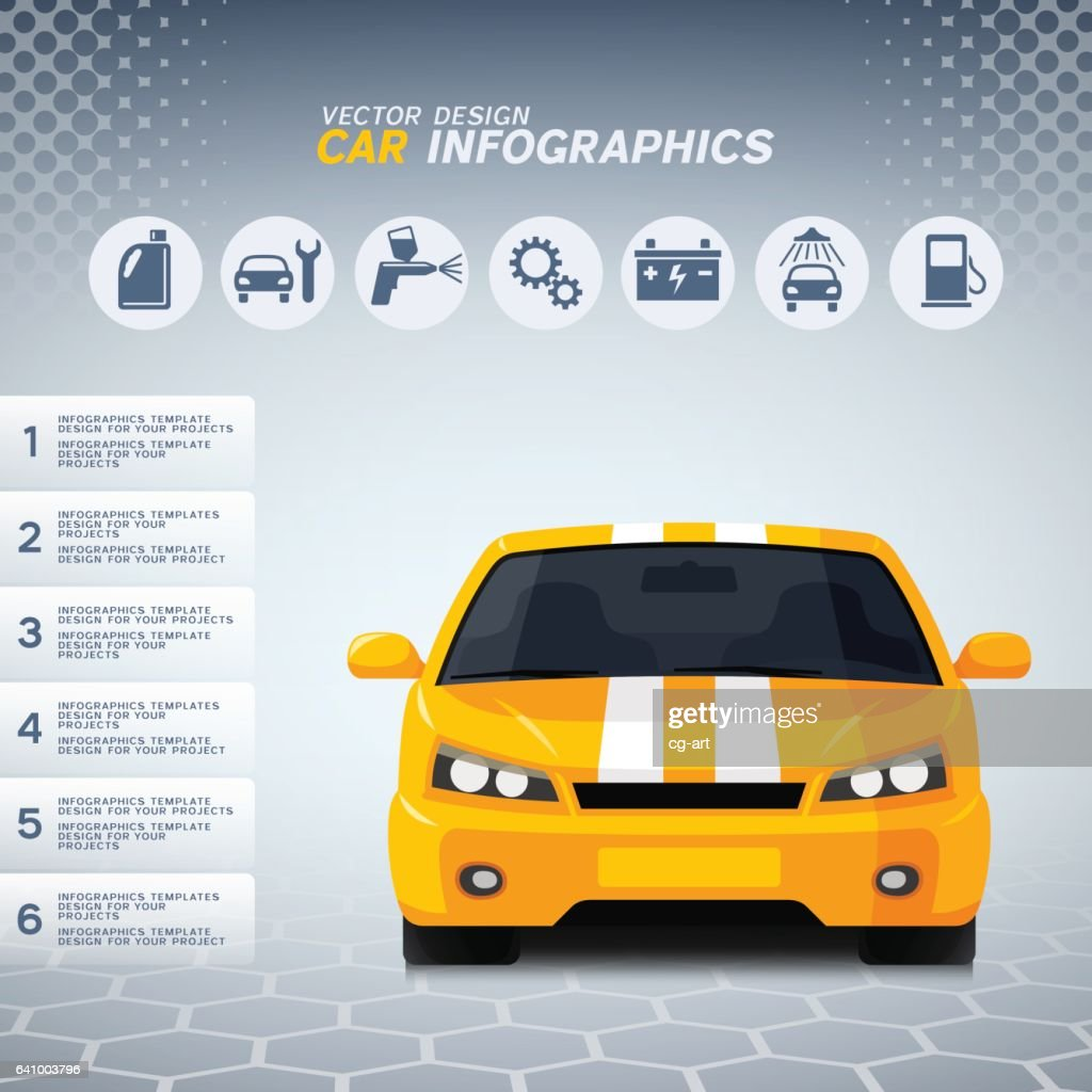 Automotive infographics with generic sports car and service icons