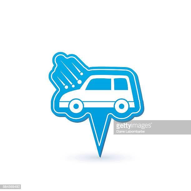 automotive insurance pointer icon - hailstone stock illustrations, clip art, cartoons, & icons