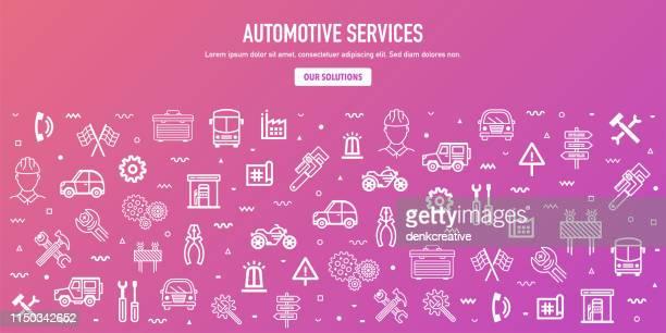 ilustraciones, imágenes clip art, dibujos animados e iconos de stock de industria de fabricación automotriz esquema de banner web diseño - soldar