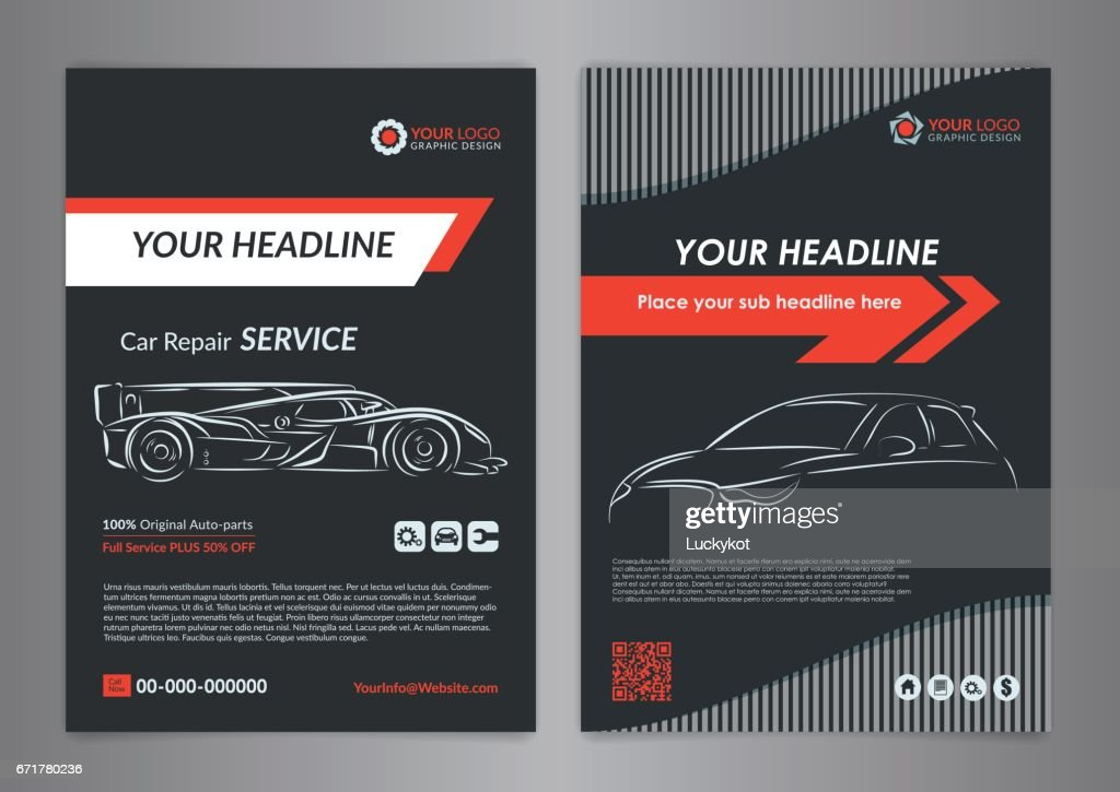 Automotive repair business layout templates, automobile magazine cover, auto repair shop brochure, mockup flyer. Vector illustration.