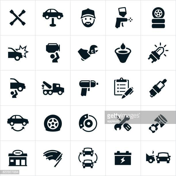 automotive repair icons - damaged stock illustrations
