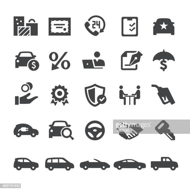 automotive sales icons - smart series - car stock illustrations