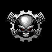 automotive skull piston vector  illustration art