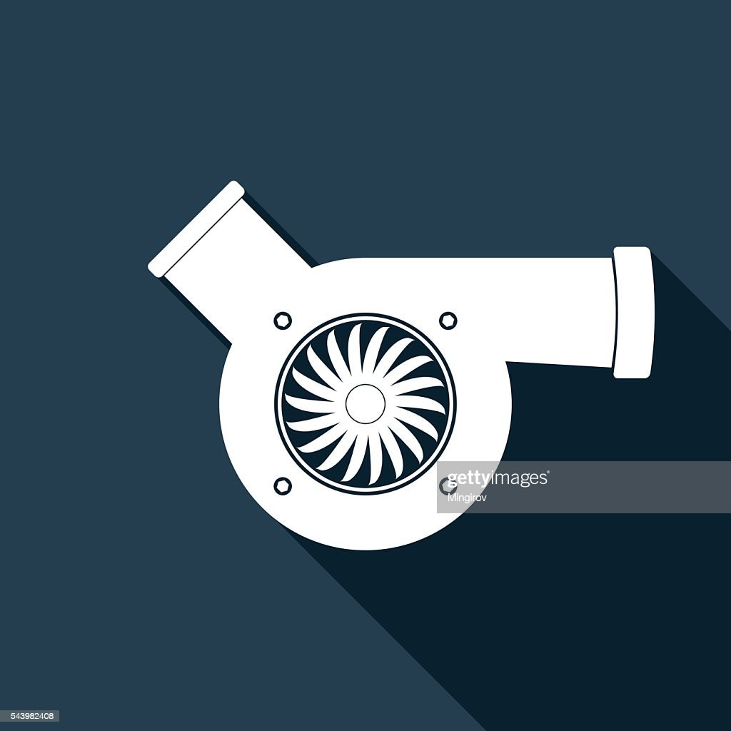 Automotive turbocharger icon with long shadow.