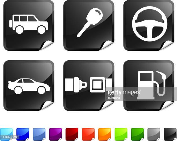 automotive vector icon set - gas prices stock illustrations, clip art, cartoons, & icons