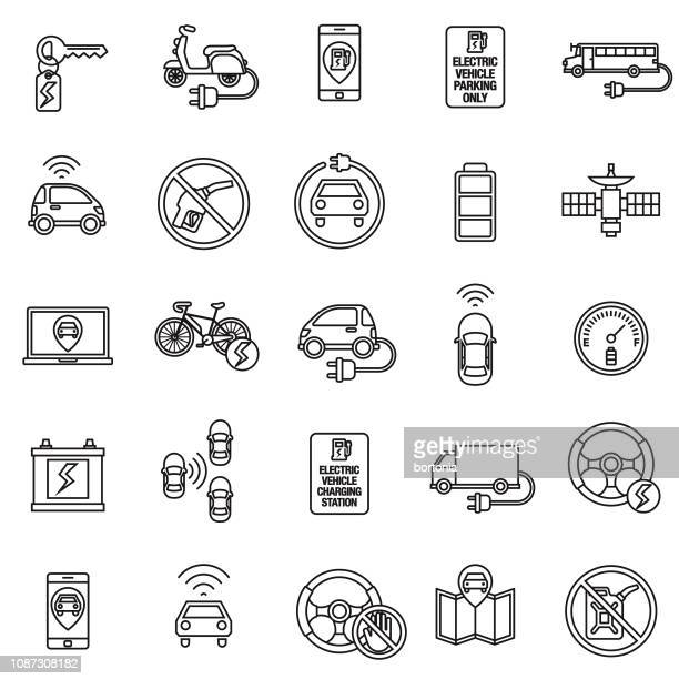 autonomous and electric vehicles icon set - alternative fuel vehicle stock illustrations