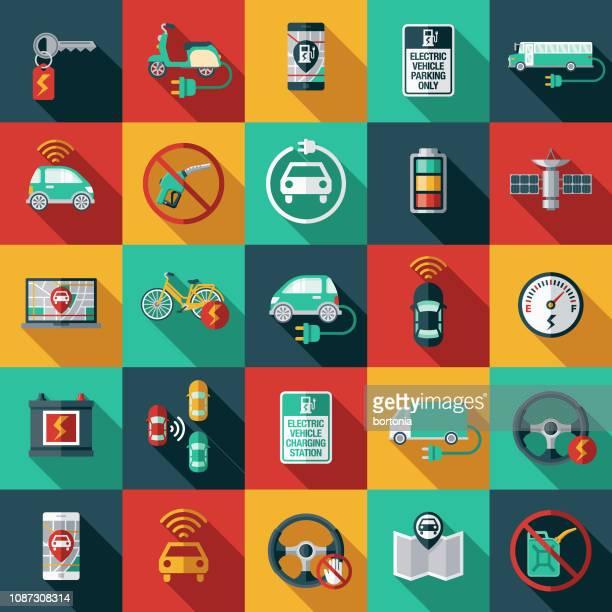 ilustraciones, imágenes clip art, dibujos animados e iconos de stock de conjunto de iconos de vehículos autónomos y eléctrico - vehículo eléctrico
