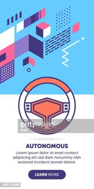 ilustraciones, imágenes clip art, dibujos animados e iconos de stock de bandera coche autónomo - conductor oficio